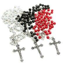 Винтажное ожерелье из триколора Мадонны, 6 мм, с жемчужинами, с розарином, христианские украшения, христианские украшения, подарочные аксесс...