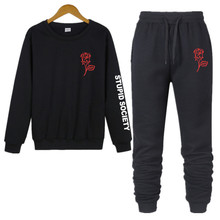 Mens O-neck Two-piece Casual Sweatshirt Sports Pants Cotton Print Autumn And Winter Suit
