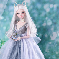 60cm Princess Cat Dolls Handmade 1/3 Bjd Doll Full Set with Makeup and Clothes Jointed Girls Dolls Toys for Children Gift