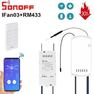 SONOFF IFan03 WIFI Ceiling Fan And Light Controller AC100-240V 50/60Hz Smart Home Switch with RM433 RF Remote Controller(China)