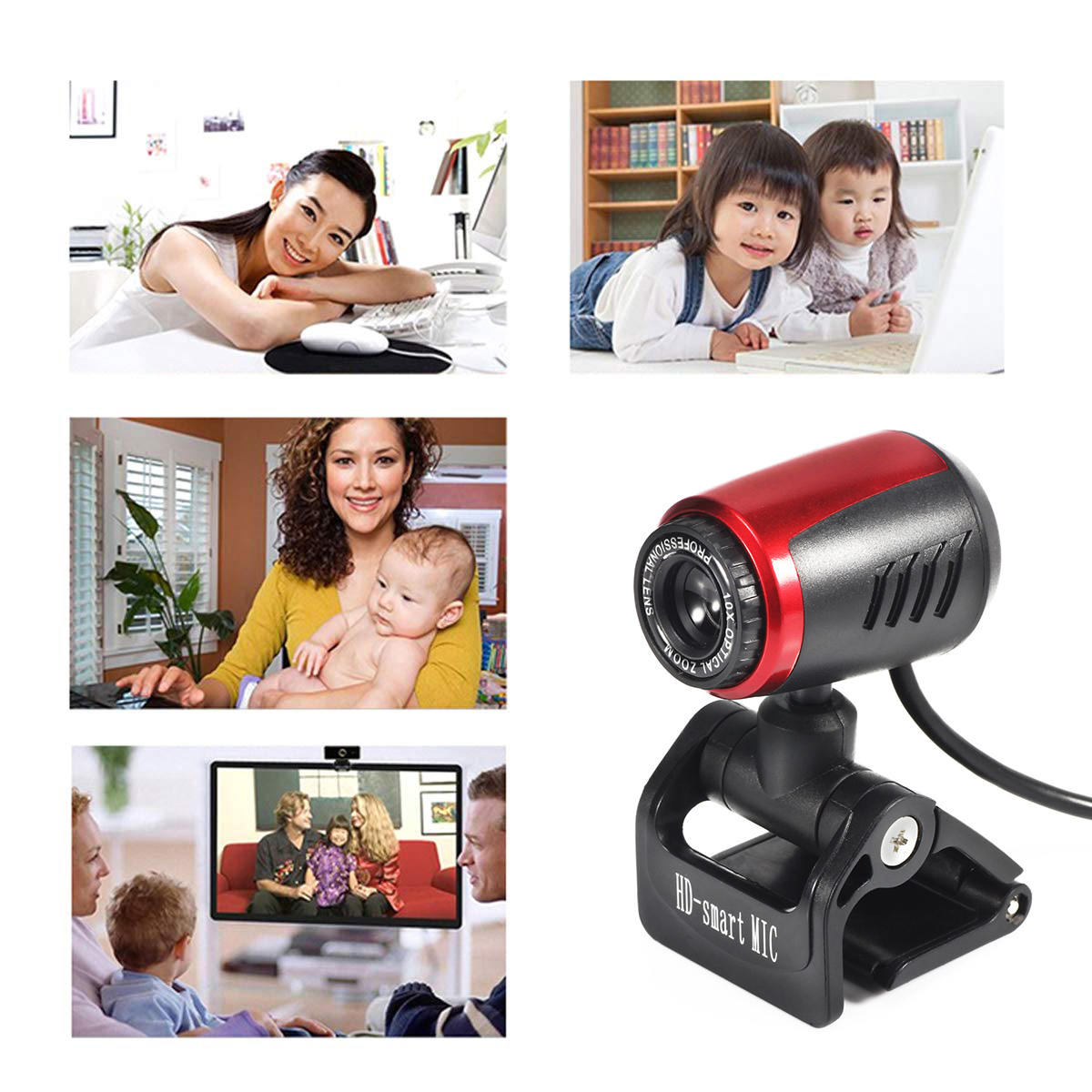 140cm Cable 16 Million Pixels USB 2.0 Webcam Camera Up And Down 60 Degree Rotatable 360 Degree Rotating Head With Mic Auto Focus