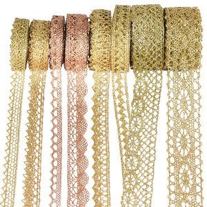 5/10yard Gold/silver Lace Trim Ribbon Roll Glitter Crocheted 7-24mm Ribbons Webbing Decor DIY Craft Gift Packing Sewing Supplies(China)
