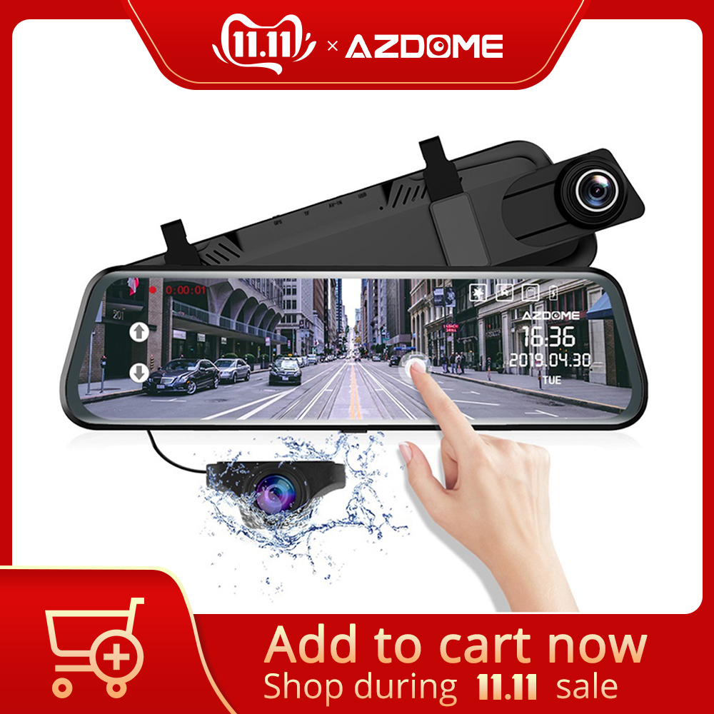 "AZDOME PG12 Touch Full Screen 10"" Mirror Dash Cam Streaming Media Dual Lens Night Vision 1080P DashCam Car DVR Support GPS"