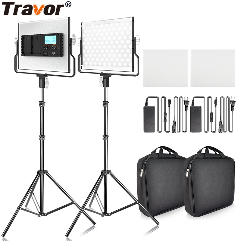 Travor photography light <font><b>L4500</b></font> 2 Kit Video Light With 2M Tripod Dimmable 3200k 5500k Studio Photography panel Lighting LED light image