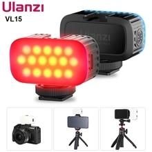 Ulanzi VL15 מיני RGB LED וידאו אור נייד Vlog אור עם קר נעל עבור Smartphone Gopro מצלמה 2W 750mAh סוג C טעינה