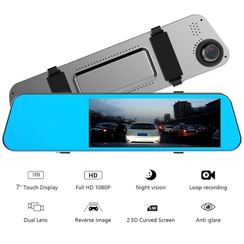 7 Inch IPS 1080P 2.5D Press Screen Backup Camera Car Mirror Dash Cam Driving Recorder