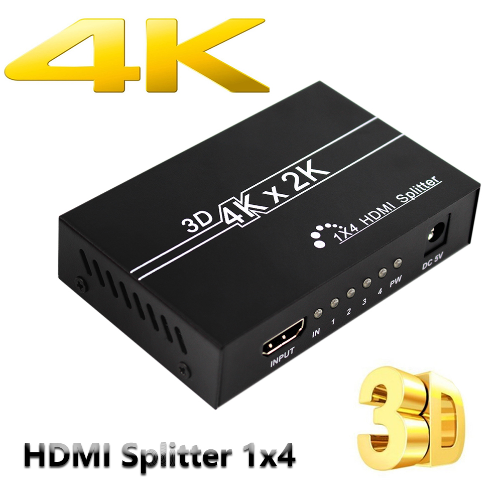 Wiistar 4K HDMI Splitter 1080p Video HDMI Switch Switcher 1X2 1X4 Dual Display For HDTV DVD PS3 Xbox