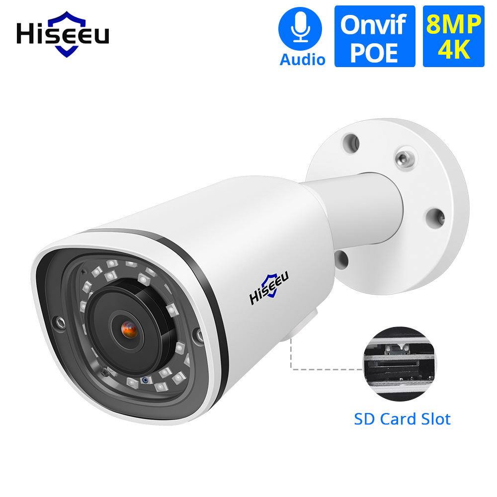 Hiseeu Bullet 4K POE IP Camera 8MP SD Card Slot Waterproof Audio Video Surveillance Security CCTV Camera For POE NVR ONVIF H.265