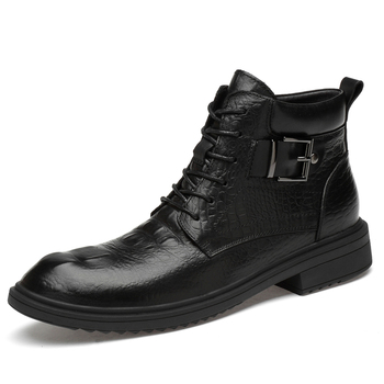 plus size mens casual business wedding formal dresses ankle boots crocodile pattern cow leather shoes botines hombre bota zapato