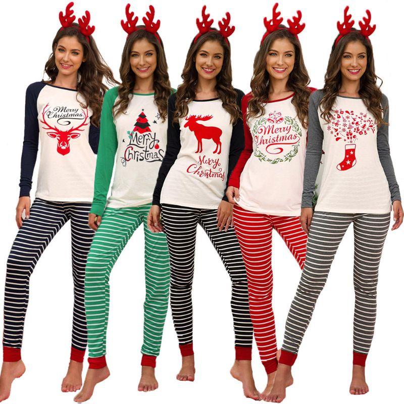 Women Xmas Letter Print Raglan Sleeve Top+Leggings Christmas Party Striped Nightwear Pyjamas Kit Plus Size S-5XL