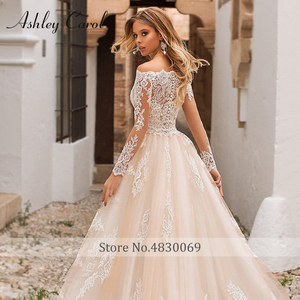 Image 5 - Detachable Mermaid Wedding Dresses 2020 With Jacket 2 In 1 Boat Neck Full Sleeve Appliques Lace Up Bridal Gown Vestido De Noiva