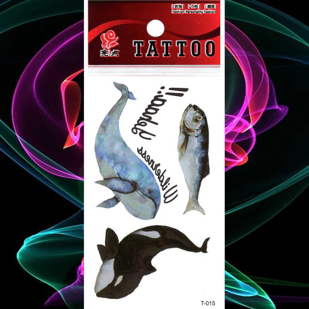防水タトゥー水彩オーシャンイルカクジラ一時的な入れ墨魚ステッカー偽タトゥー女性男性ボディアームフラッシュ Tatouage