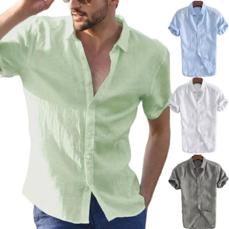 2020 Fashion Men's Solid Short Sleeve Shirt Summer Button Washable Cotton Basic Casual Shirts Tops Plus Size XXXL Clothes