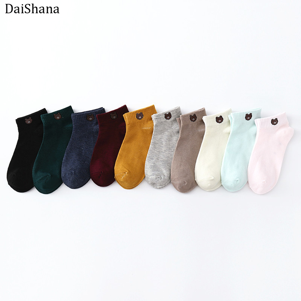 1Pair Women Cotton Socks Cartoon Embroidery Female Color Cute Casual Fashion Bear Socks Girls Japanse Style Lady Socks EUR 35-40