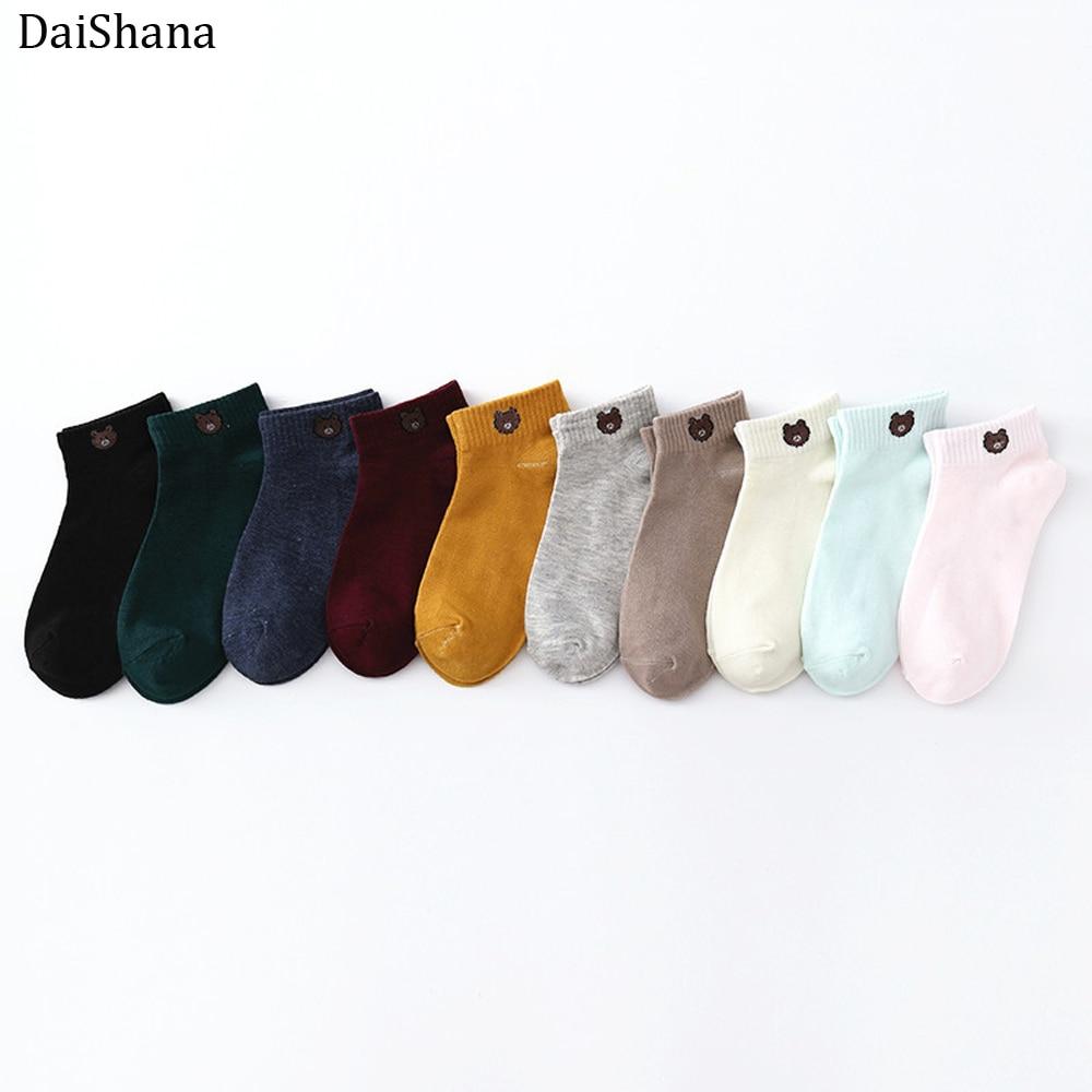 1Pair Women Cotton Socks Cartoon Embroidery Female Color Cute Casual Fashion Bear Socks Girls Japanse Style Lady Socks EUR 35-40