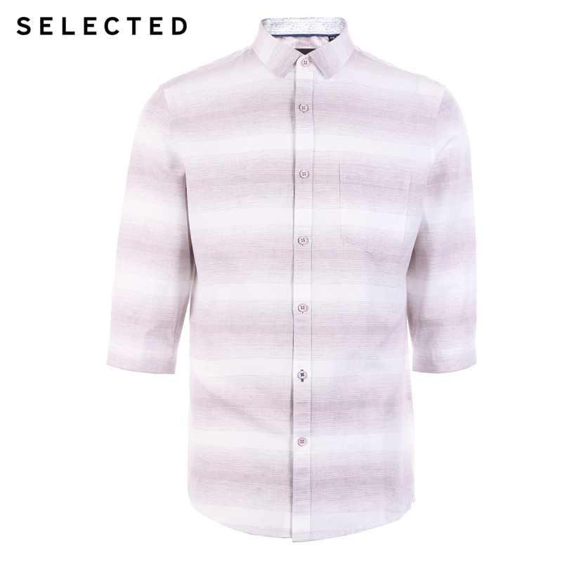 選択された男性のリネンストライプトレンディ3/4スリーブカジュアル丈コントラストステッチシャツs   419231507