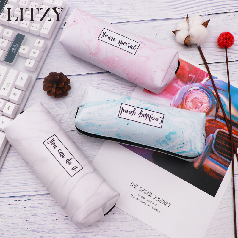 Marble Pencil Case Cute School Pencil Cases For Girls Boy Kawaii Leather Big Pen Bag PencilCase Pouch School Stationery