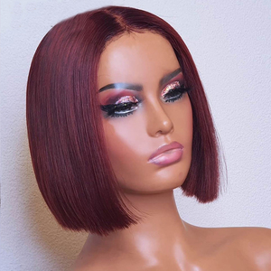 Natural Skin Short Red BOB Wig For Women 10 inches Synthetic 99J Straight Synthetic Hair Middle Part Burgundy