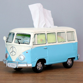 Flower Retro Iron Bus Tissue Box Model Figurines Car Craft Home Decoration Accessories for Living Room Ornaments for Home Decor 9