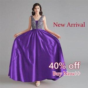 Image 3 - Schönheit Emily Satin Dark Rosa Brautjungfer Kleider 2020 V ausschnitt Schwere Perlen A line Hochzeit Party Kleid Formale Kleid Robe De soiree