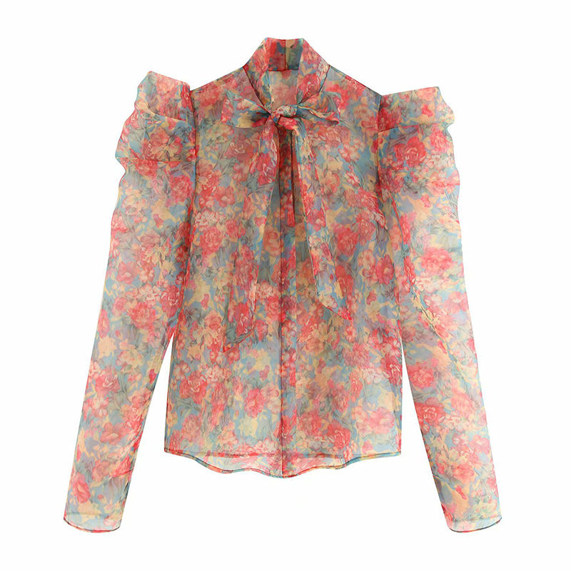 Chic Floral Print Transparent Blouse Women Bow Tie Puff Long Sleeve Fashion Shirt See Through Top Women Sexy Shirt Autumn Summer