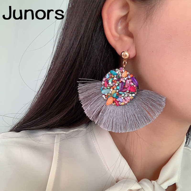 Colorful shell Tassel ladies earrings	 female boho colors big long statement earrings for women vintage drop earrings jewelry