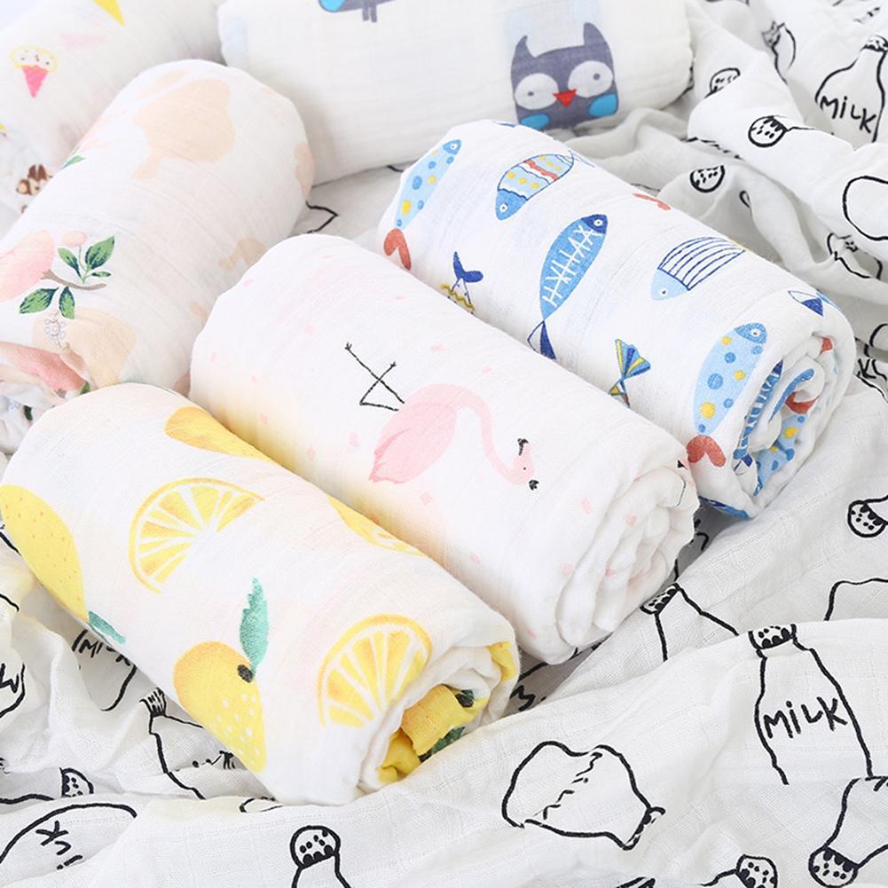 120cm Animal Print Cotton Gauze Muslin Absorbent Newborn Baby Swaddle Blanket Bath Nursing  Towel New