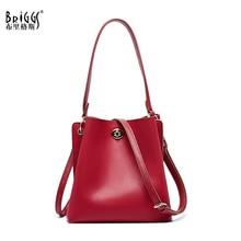 BRIGGS Fashion Genuine Leather Women Handbag Luxury Women Bag Designer Brand Bag Women Shoulder Crossbody Bucket Bag Casual Tote