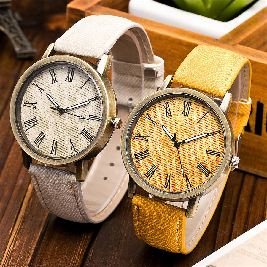 Vintage Colorful Leather Women Watches Top Brand Luxury Imitation Jeans Canvas Strap Steel Waterproof Ladies Watch For Girl Gift