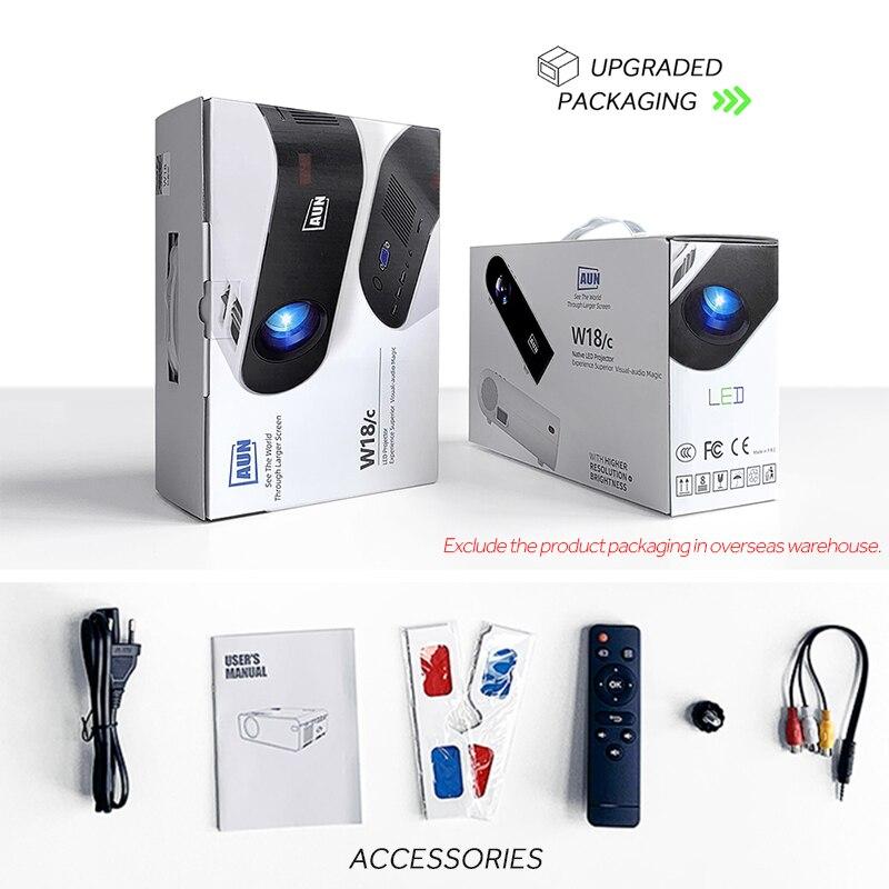 Aun mini projetor w18, 2800 lumens (opcional android 6.0 wifi w18d), suporte completo hd 1080p led projetor 3d casa teatro-5