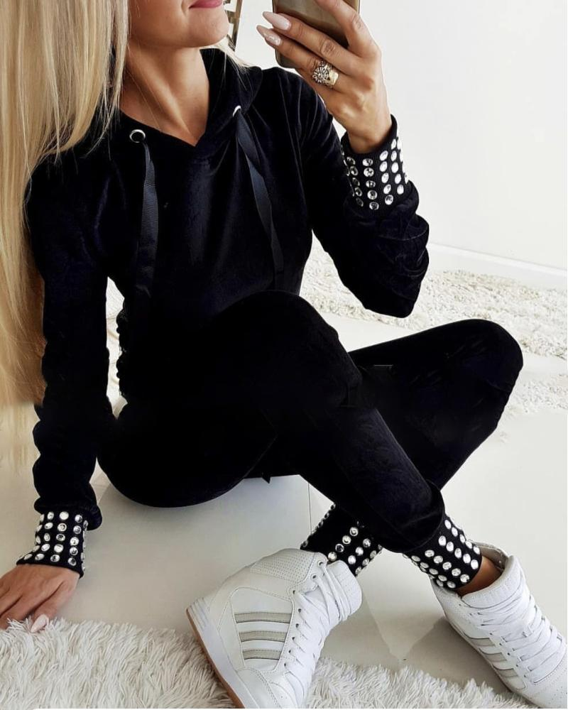 2 Piece Set Hot Stamping Hooded Drawstring Top & Pants Sets Women Long Sleeve Hoodies Sweapants Tracksuits