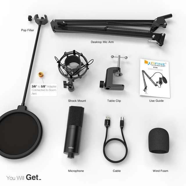 USB Condenser Microphone with Adjustable Desk Arm and Shock Mount for YouTube Voice Recording Voice