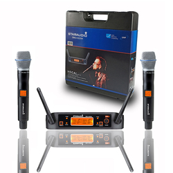 STARAUDIO Professional 2CH UHF Handheld Wireless Microphone System 2 Channel Karaoke Stage Church Wireless Microphone SMU-0220A