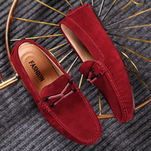 Mens Red Loafers Brand 2020 Fashion Summer Style Soft Moccasins Men Loafer Suede Leather