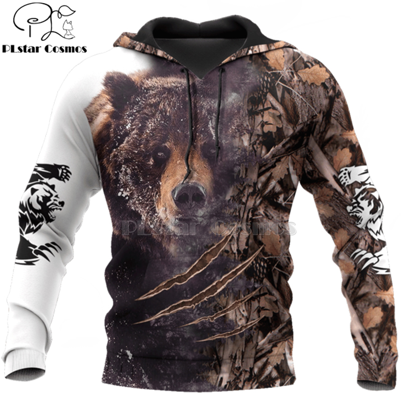 PLstar Cosmos Bear HUNTING 3D  Printed Shirts 3D Print Hoodies/Sweatshirt/Zipper Man Women Big Black Bear Bow Hunter Bear-3
