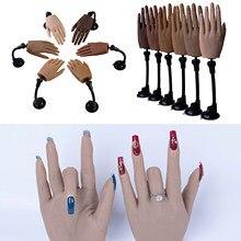 Main de formation en Nail Art en Silicone avec support Flexible et pliable, présentoir de faux ongles, modèle de pratique, outil de manucure