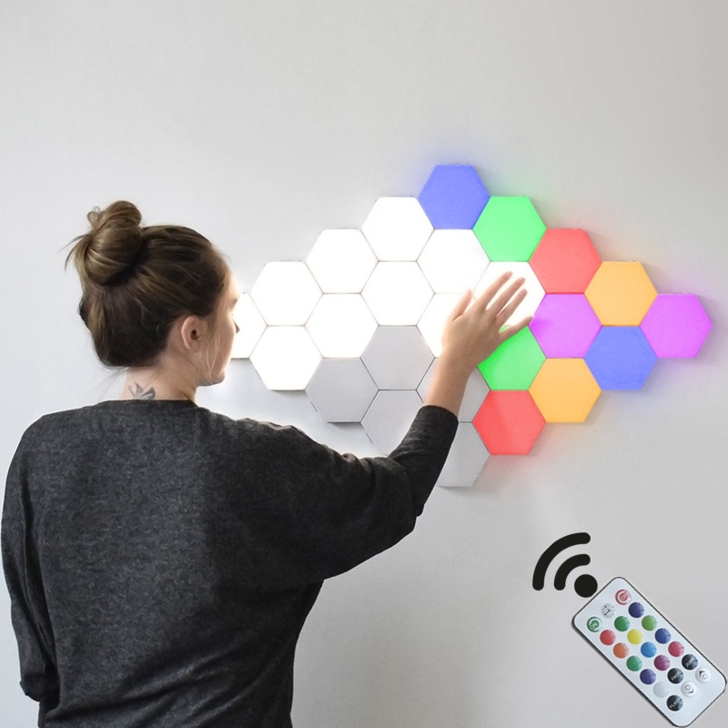 INS Remote Control Honeycomb Modular Assembly Helios Touch Wall Lamp RGB Quantum Lamp LED Magnetic Wall Light Bedroom Lamp