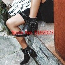 Hot Sale Chain Ankle Boots Women Shoes Retro Rome Ladies Fas