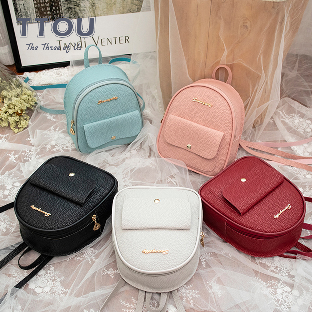 TTOU Fashion Mini Women Backpack Quality Leather Shoulder Bag For Teenage Girl Multi-Function Small Bagpack Female Phone Pouch