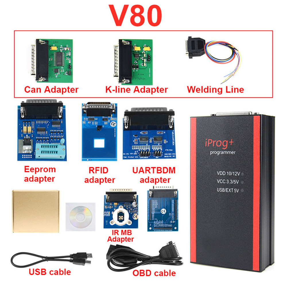 Image 5 - Новый V80 IPROG Porgrammer IR MB адаптеры IPROG Pro CAN BUS адаптер IPROG + Kline адаптер Бесплатная доставка on