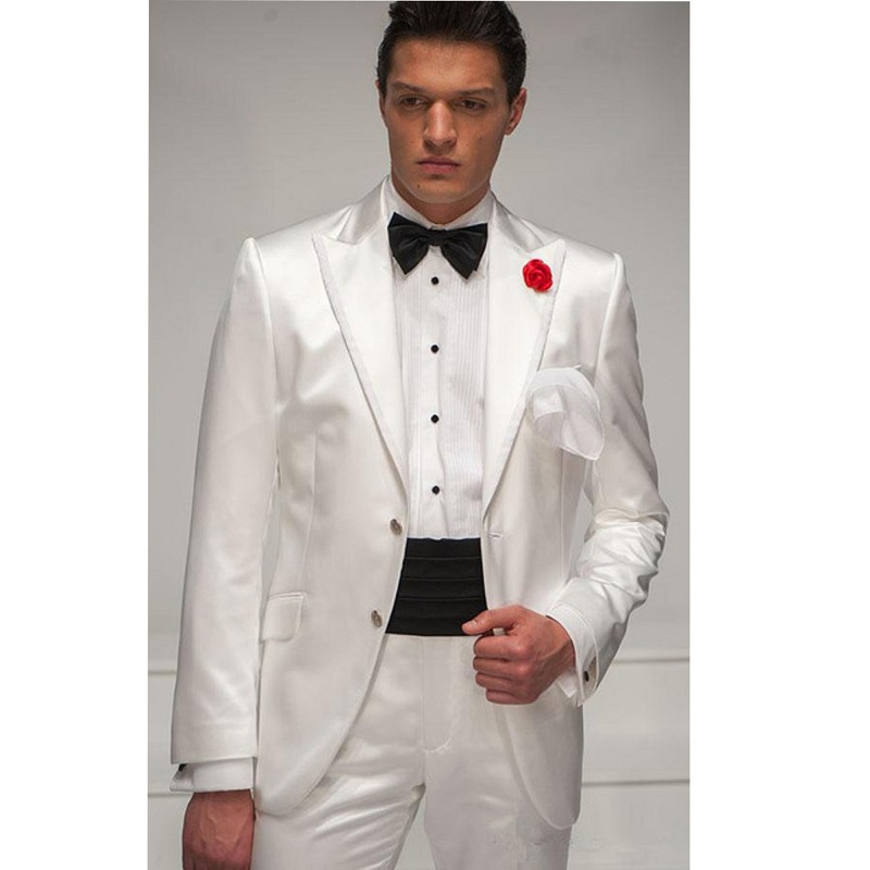 Vintage Slim Formal Wedding Tuxedos White For Grooms Suit Party Dinner Banquet Custom Suits 2 Piece Spring (Jacket+Pant)