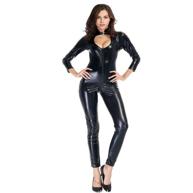Sexy Wetlook Faux Leather Catsuit Black PVC Latex Bodysuit Zipper Open Crotch Clubwear Fetish Hot Erotic Pole Dance Lingerie
