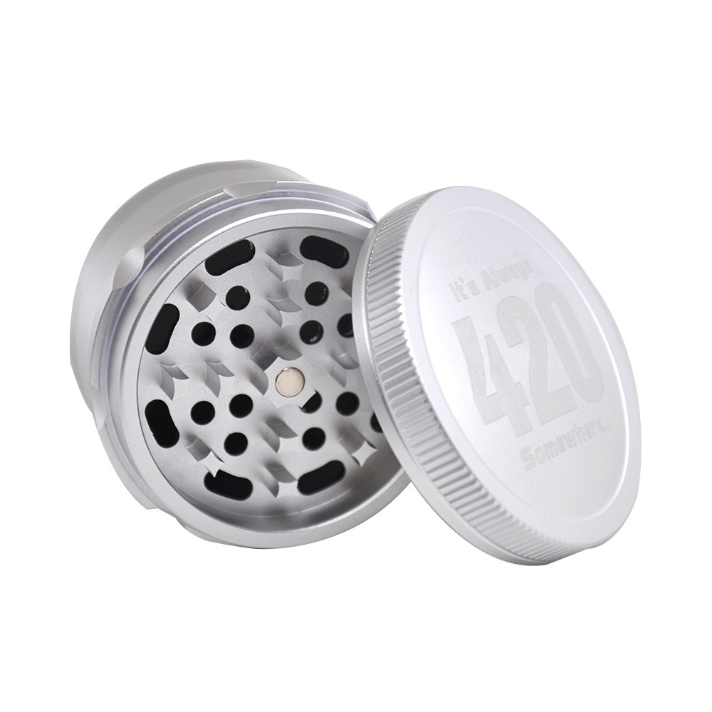 Aircraft Aluminum Herb Tobacco Grinder with Diamond Teeth 63 MM 4 Layers Herb Grinder Crusher Spice Grinder 4