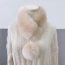 Зимний женский воротник из лисьего меха шарф шейный теплый платок
