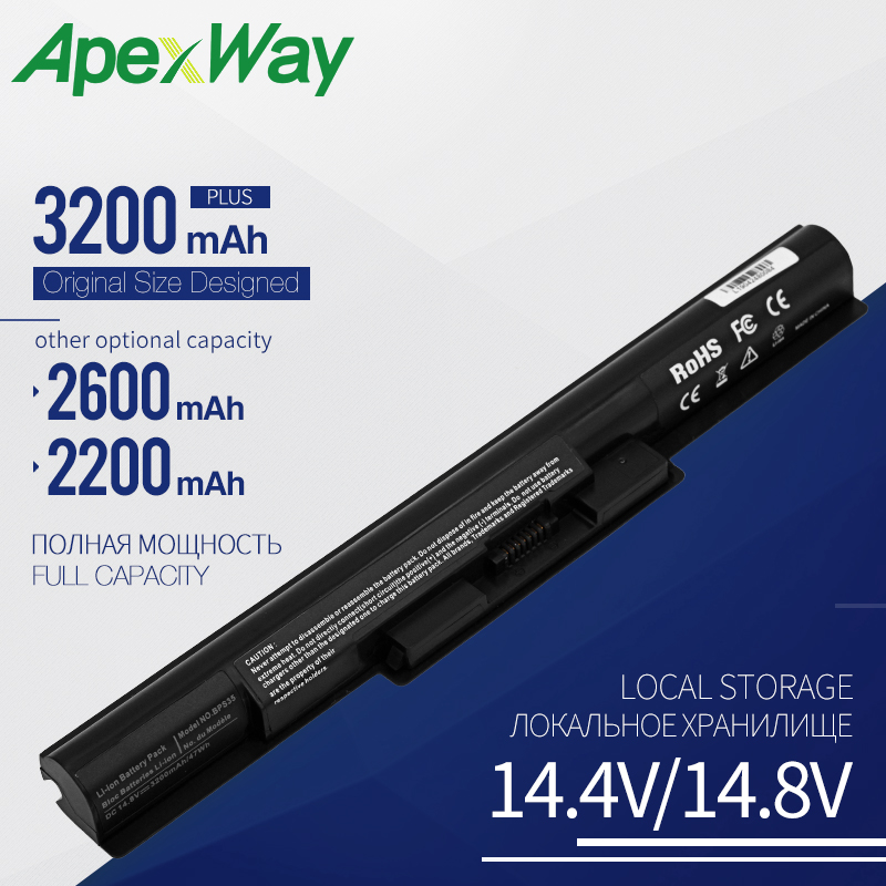 Apexway 4 Cells Laptop Battery For Sony BPS35 VGP-BPS35 VGP-BPS35A For VAIO Fit 14E VAIO Fit 15E Series