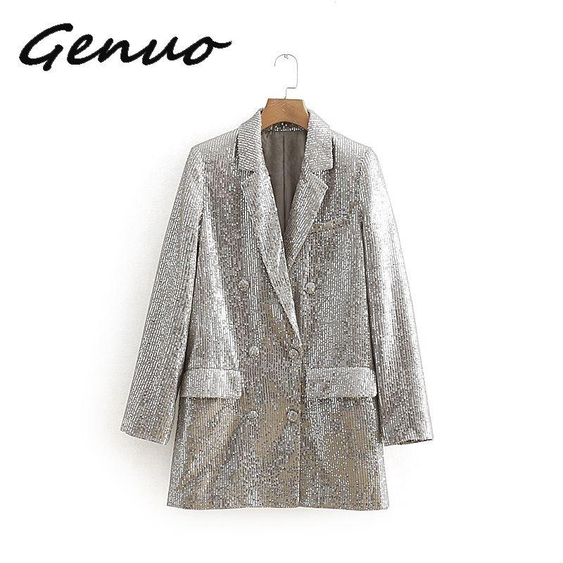 Genuo Women New Spring Long Sleeve Sequined Blazer Vintage Female Double Breasted Blazer Casual Pockets Notched Lady Outwears