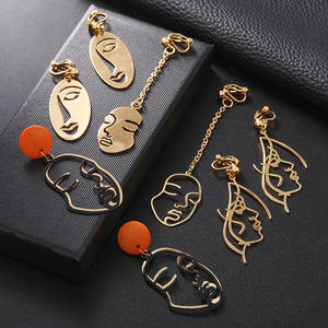 2019 New Arrival Abstract Stylish Hollow Out Face Clip Earrings Without Piercing Girls Statement Charm Earrings