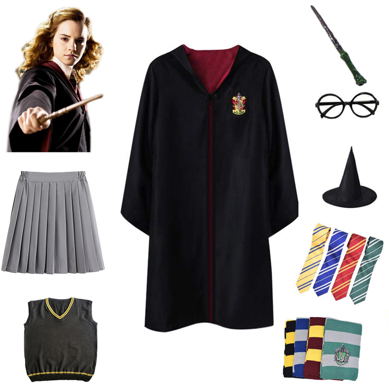 Kids Adults Cosplay Costumes Potter Outfits 5PCS/set Magic Robe Cape Suit Gryffindor Hermione Sweater Skirt Halloween Gifts