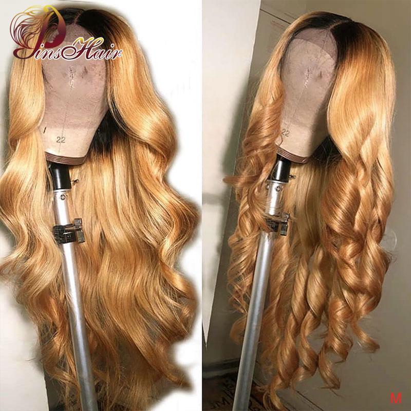 Honey Blonde Body Wave Lace Front Wig 13*4 1B/27 Lace Front Wig Pre Plucked Pinshair Brazilian Ombre Human Hair Wig Non-remy 150