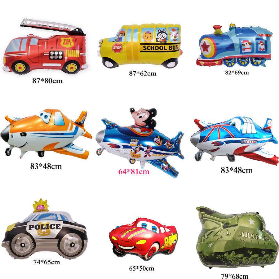 car helium balloons school bus tank train truck and airplane foil balloons for child toy happy birthday party balloons image